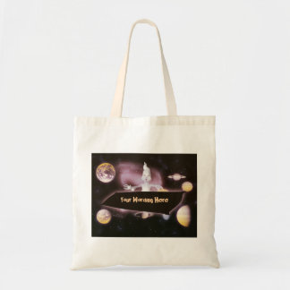 Ghost halloween space planet cartoon budget tote bag