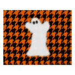 Ghost On Halloween Houndstooth Print