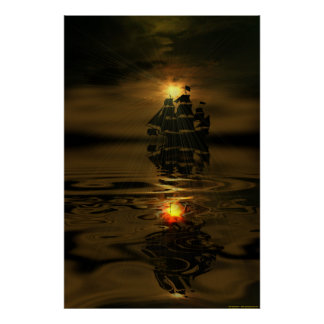 Ghost-ship-1-w-Sunburst Poster