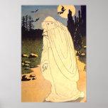 Ghost Witch Bat Moon Spirit Poster