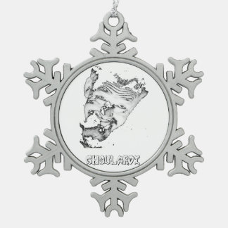 Ghoulardi (Black/White) Pewter Snowflake Ornament