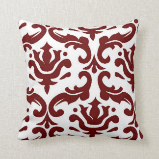 Giant Damask Red and White Pillow
