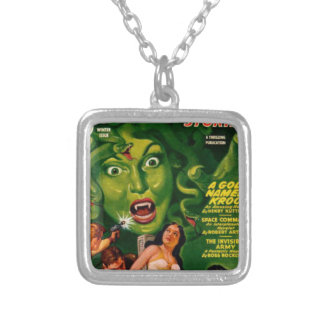 Giant Green Snake Woman Silver Plated Necklace