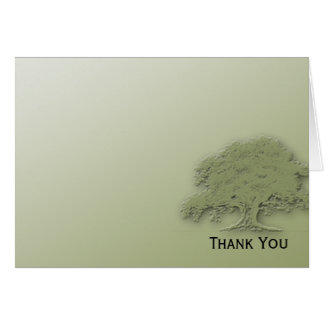 Giant Oak on Green Field Note Card