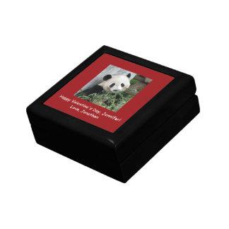 Giant Panda Valentine's Day Gift Box, Red Trim Small Square Gift Box