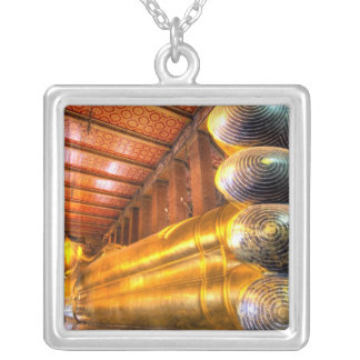 Giant reclining Buddha inside temple, Wat Pho, Silver Plated Necklace