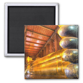 Giant reclining Buddha inside temple, Wat Pho, Square Magnet