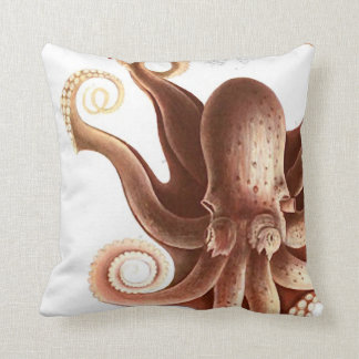 "Giant Red Squid/Octopus Nautical Theme 20"" Pillow Throw Cushion"