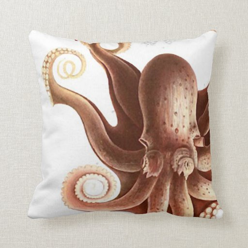 """Giant Red Squid/Octopus Nautical Theme 20"""" Pillow"""