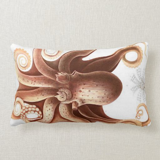 Giant Red Squid/Octopus Nautical Themed Lumbar Plw Pillow