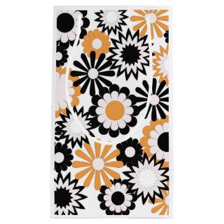 Gift Bag, orange, white and black floral. Small Gift Bag