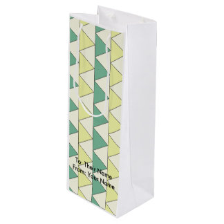 Gift Bag - Wine TRIANGLE PATTERN GREEN/YELLOW