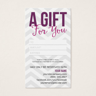 Gift Certificate Card Business Cards