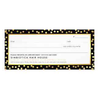GIFT CERTIFICATE modern glam dots faux gold black