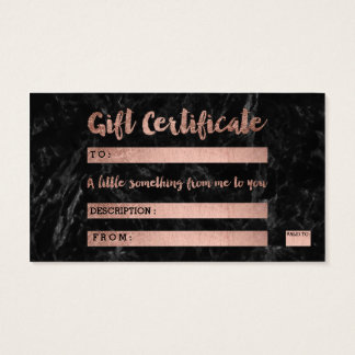 Gift certificate rose gold typography black marble