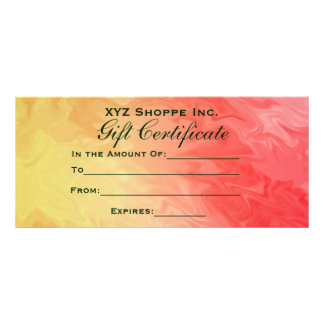 Gift Certificate Yellow Red Texture 10 Cm X 23 Cm Rack Card