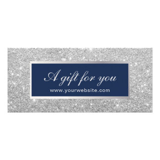 Gift Certificates | Navy Blue & Silver Glitter Personalised Rack Card