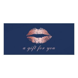 Gift Certificates | Rose Gold Lips Navy Blue Salon Rack Cards