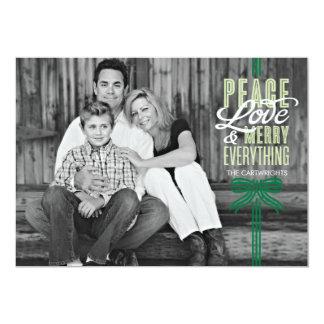 "Gift Green Ribbon Wrapped Holiday Photo Card 5"" X 7"" Invitation Card"