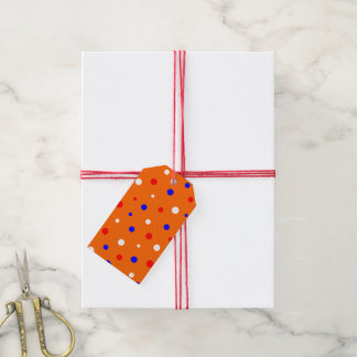 Gift Tags Orange with Confetti in Red-White-Blue