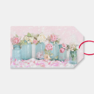 Gift Tags - Shabby Chic Roses Blue Glass
