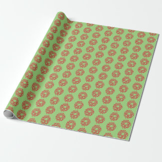 Gift Wrap - Red Christmas Wreaths on Green