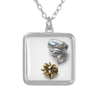 Gift Wrap Shiny Bow and Ribbon Square Necklace