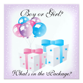 Gifts and Balloons Baby Gender Reveal Party Invit 13 Cm X 13 Cm Square Invitation Card