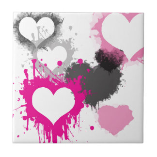 Gifts for Girls - Pretty pink grey hearts graffiti Ceramic Tiles