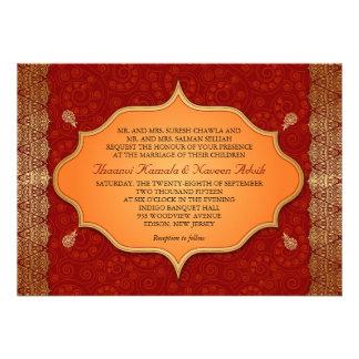 Gilded Edge Indian Frame Wedding Personalized Invite