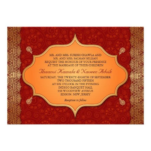 Gilded Edge Indian Frame Wedding Personalized Invite