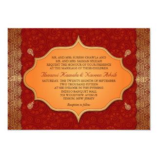 "Gilded Edge Indian Frame Wedding 5"" X 7"" Invitation Card"