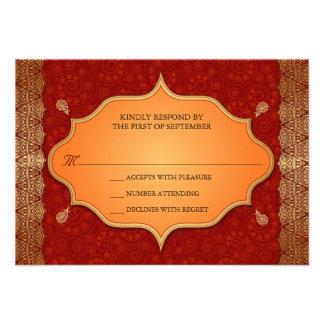Gilded Edge Indian Frame Wedding Reply RSVP Custom Invites