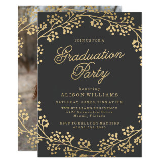 Gilded Gold Graduation Party Invitation