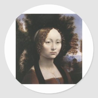 Ginevra de' Benci by Leonardo Da Vinci Classic Round Sticker