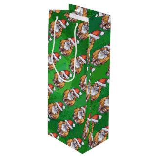 Ginger Cat Christmas On Green Wine Gift Bag