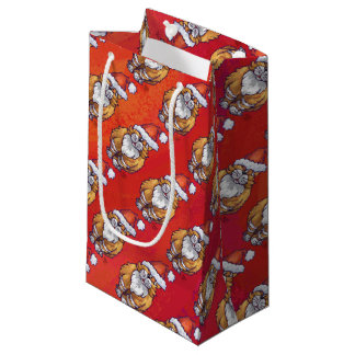Ginger Cat Christmas On Red Small Gift Bag