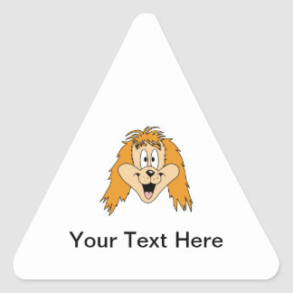 Ginger Dog. Cartoon. Triangle Sticker