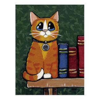 Ginger Tabby Cat on Bookshelf Illustration Postcard