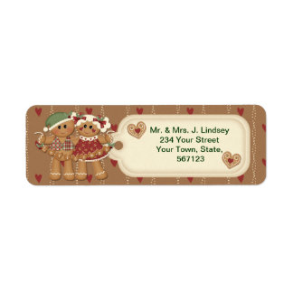 Gingerbread Christmas Address Labels