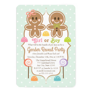 Gingerbread Christmas Gender Reveal Party 13 Cm X 18 Cm Invitation Card