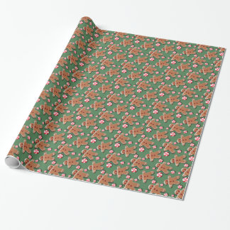 Gingerbread  Cookies Candies on Green Wrapping Paper