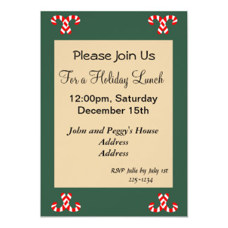 Gingerbread House and Candy Canes Holidy 13 Cm X 18 Cm Invitation Card
