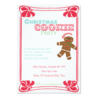 Gingerbread Man Christmas Cookie Party Invitation