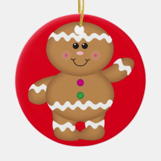 Gingerbread Man Christmas Decoration Round Ceramic Decoration