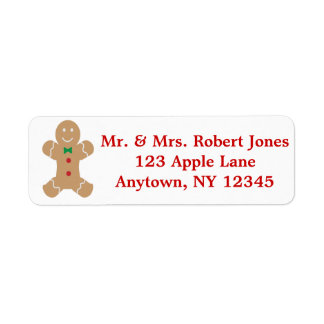 Gingerbread Man with Name Return Address Label