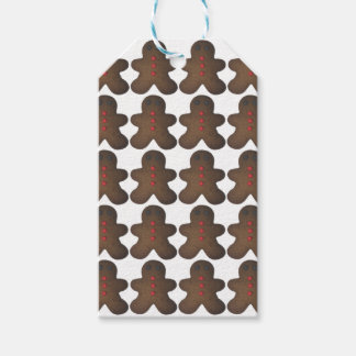 Gingerbread men pattern gift tags