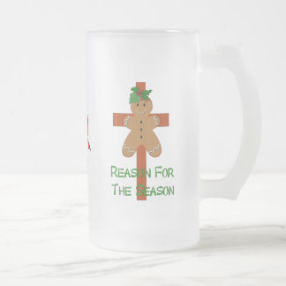 Gingerbread On A Cross Frosted Glass Mug