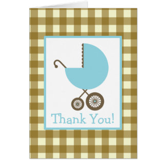 Gingham & Blue Carriage Baby Shower Thank You Greeting Cards