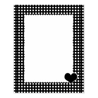 Gingham Border with Corner Heart Stamper Rubber Stamp